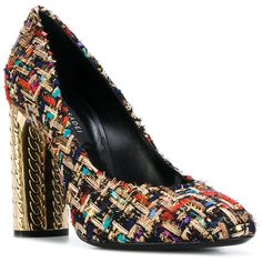 Casadei metallic heel tweed pumps (2.530 RON) ❤ liked on Polyvore featuring shoes, pumps, party shoes, metallic pumps, multi colored pumps, casadei shoes and colorful shoes