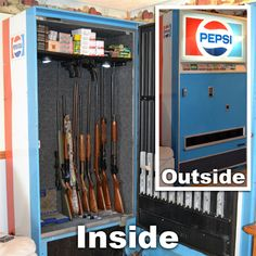 Rifle Rods and Handgun Hangers are used to retrofit this vintage vending machine.