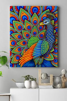 Peacock Wall Art, Peacock Painting, Dot Art Painting, Madhubani Art, Madhubani Painting, Wal Art, African Art Paintings, Mandala Art Lesson, Canvas Art Prints
