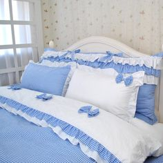 Free Shipping Cool summer princess blue and white plain bow bedding sets,king US $115.00