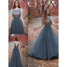 A-line/Princess Prom Dresses, Grey A-line/Princess Evening Dresses, A-line/Princess Long Evening Dresses, Gorgeous Evening Dress A-line Beading Scoop Tulle Prom Dress Formal Evening Dress