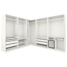 IKEA PAX Corner wardrobe White x 236 cm 10 year guarantee. Read about the terms in the guarantee brochure. Walk In Closet Design, Bedroom Closet Design, Ikea Bedroom, Wardrobe Design, Closet Designs, Small Master Closet, Ikea Pax Corner Wardrobe, Ikea Pax Closet, Corner Closet