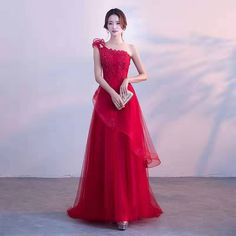 Sexy red one-shoulder dress, tulle long party dress,