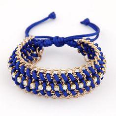 Genuine Dark Blue Multilayer Metal Chain Weaving Rope Design Alloy Korean Fashion Bracelet http://earrings.asumall.com/
