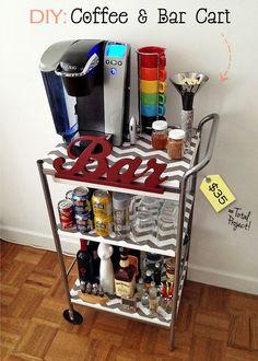 diy Home Coffee Bar ideas | DIY: Coffee & Bar Cart....This is a fun and functional idea!