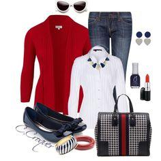 ZEBRA STRIPES BAG - Red Blazer, White Blouse, Blue Jean, Zebra & Red Peep Toe Heels,