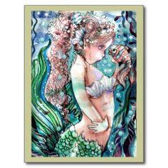 "Mermaid & Clown Fish Postcard (<em data-recalc-dims=""1"">$1.10</em>)"