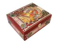 Mucha Zodiac Jewellery box wood Christmas Gift Wooden Jewelry