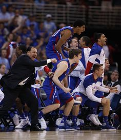 The Bench getting... a little excited after a late bucket by Tyshawn Taylor during the second half against NC