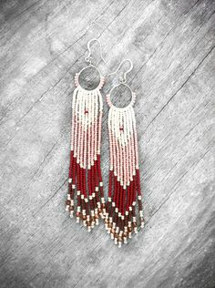 Long Fringe Beaded Earrings, Native American Inspired, Beaded Shoulder Dusters, Long Seed Bead Earrings, Chevron Earrings. $57.00, via Etsy.