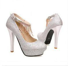 Shiny Elegant Ankle Strap High Heels