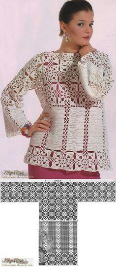 Туника квадратами - 4 Декабря 2013 - Блог - Вязаные вещи на заказ