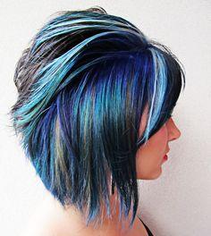 ultimate in blue hair streaks Purple Hair, Ombre Hair, Pastel Hair, Neon Hair, Turquoise Hair, Violet Hair, Crazy Curly Hair, Funky Hair, Pelo Color Azul