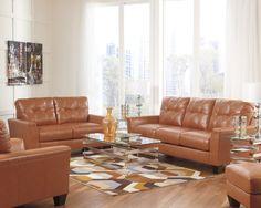 Contemporary Leather Sofa   Orange   Sam Levitz Furniture