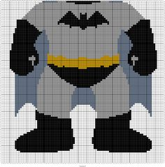 "BAT KID  95 X 95 MINI C2C GRAPH SQUARES = 45"" X 45"" THROW"