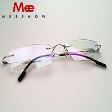 83ad379b6ec20 8508 de Alta Qualidade Meeshow Óculos Sem Aro 100% óculos de Titânio Puro frame  ótico