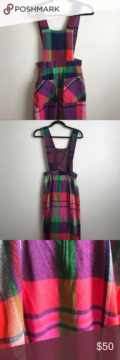 Vintage Plaid Jumper This jumper dress is incredible 😍 Pink, green, navy blue, red and purple plaid... Thick wool/nylon... 2 front pockets Miss Pat Dresses