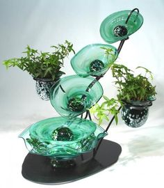 Tranquility Glass Fountains Tranquility Glass  Hand Blown Glass Ivy Falls Fountain