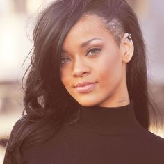 Shaved side with long #hair #rihanna