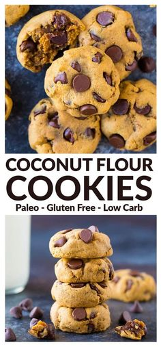 Soft and chewy Paleo Coconut Flour Cookies. Low carb healthy and packed with protein! Made with coconut flour peanut butter chocolate and NO refined sugar! Great for when you need a healthy dessert. includes vegan (no eggs) s Coconut Flour Desserts, Coconut Flour Cookies, No Flour Cookies, Low Carb Desserts, Gluten Free Desserts, Low Carb Recipes, Coconut Flour Recipes Low Carb, Coconut Sugar, Baking With Coconut Flour