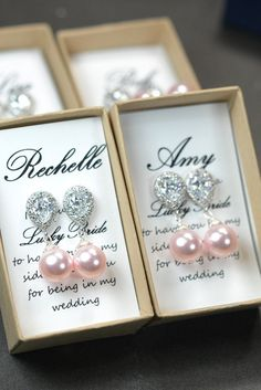 Pearl Bridal Earrings Soft Pink Blush Pearl by thefabbridaljewelry
