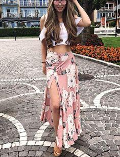 Description Bohemian Long Skirt Floral Print Straight Silhouette Empire Waistline Buttoned and Tied Ankle-Length Polyester Size Chart Size S / cm M / cm L / cm US 12 UK 8 10 12 AU 8 10 12 EU 42 Waist Tile 63 67 71 Recommend Hip Recommend Hem 283 290 Boho Outfits, Spring Outfits, Fashion Outfits, Casual Outfits, Long Skirt Outfits For Summer, Casual Skirts, Modest Outfits, Modest Fashion, Bohemian Maxi Skirt
