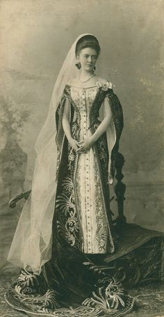 Ladie-in-waiting Elizaveta Tolstaya in court dresses