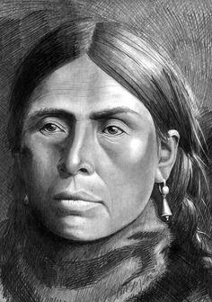 Graphite art by award winning artist Karen Clarkson specializing in Native American and cowboy portraits. kK
