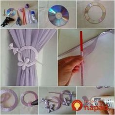 Glorious Make Rod Pocket Curtains Ideas. Enchanting Make Rod Pocket Curtains Ideas. Curtain Tie Backs Diy, Curtain Ties, Rod Pocket Curtains, Diy Curtains, Cd Crafts, Crafts To Sell, Home Crafts, Diy Home Decor, Diy And Crafts