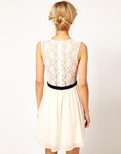 Back of the dress Image 2 ofASOS Scalloped Lace Skater Dress