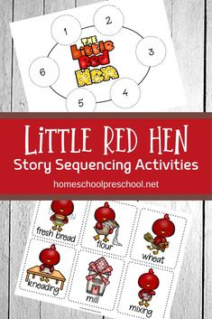 Kids can practice storytelling with these free printable Little Red Hen sequencing cards. They can be used in three hands-on activities. #littleredhen #littleredhenactivities #littleredhensequencing #homeschoolprek