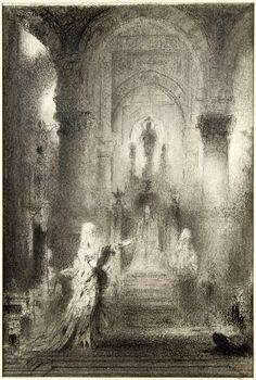 Salomé dansant devant Hérode de Gustave Moreau, entre 1874 et 1876, dessin à l'estompe et à la pierre noire sur papier blanc, 22,1 x 14,8 cm, Musée Gustave Moreau à Paris.
