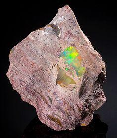 Fire Opal in Rhyolitic matrix - Carbonera Mine, La Trinidad, Mun. de Tequisquiapan, Queretaro, Mexico