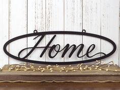 """Metal Home Sign Decor Welcome To Our Home Metal Sign  24""""w X 12""""h  Metal Wall Art"""