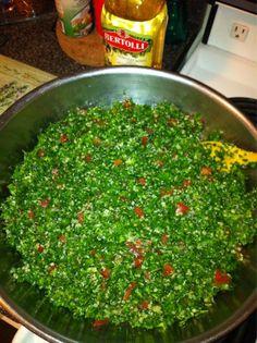 YUM gluten free tabouleh  Quinoa replacing cracked wheat