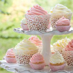 Cupcakes made with jasmine tea buttercream frosting. Vanilla Bean Cupcakes, Buttercream Cupcakes, Buttercream Recipe, Frosting Recipes, Cupcake Recipes, Mini Cakes, Cupcake Cakes, Tea Party Cupcakes, Little Cakes