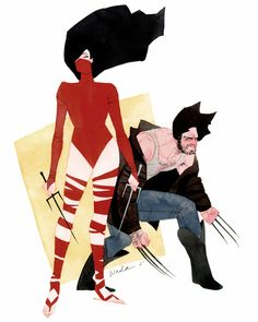 """Duets"" Elektra and Wolverine by Kevin Wada"
