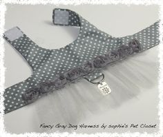 Fancy Gray Dog Harness Pet Boutique Harness by SophiesPetCloset