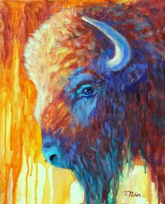 Western Artist Gallery: Western Art, Contemporary American Buffalo Painting by Theresa Paden