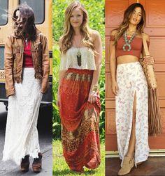 """""""As saias em tecido mais fluidos e mais largas podem ser combinadas com sandálias rasteiras, colares longos de penas, chapéus, headband de flores ou couro e bolsas mais longas de couro ou artesanais"""""""