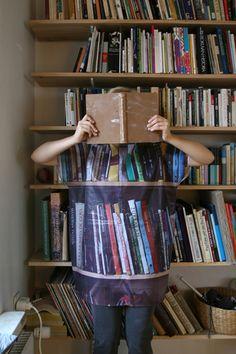 photo © Maija Luutonen (Artist, Photographer. Finland). Optical illusion, PhotoArt, Library, Bookshelves, Books, Reader, Bookshelf Dress,