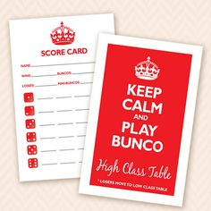 Printable Bunco Score and Table Card Set - Keep Calm and Play Bunco. $6.00, via Etsy.