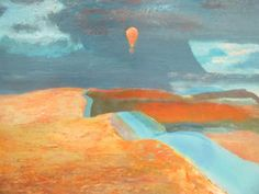 Sale D051115 Lot 394  § Derek Hyatt (British, b.1931) Crossing the Moor - Hilly landscape with hot air balloon, circa 1980 oil on board- Cheffins