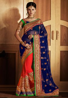Captivating Coral Red and Midnight Blue Saree