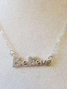 Sterling Silver Believe Necklace -  With CZ - Inspirational - Valentine by CopperfoxGemsJewelry on Etsy https://www.etsy.com/listing/239063177/sterling-silver-believe-necklace-with-cz