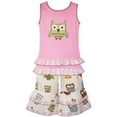 @Overstock.com - Make your little girl the talk of the town by dressing her in this girls clothing set by AnnLoren. It features a lovely owl print and is trimmed with an embroidered owl design for extra cuteness.http://www.overstock.com/Clothing-Shoes/AnnLoren-Girls-Owl-Capri-and-Tank-Set/6440458/product.html?CID=214117 $27.49