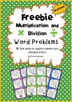 This freebie comes with 18 colorful multiplication and division task cards, student answer sheets as well as answer keys for students to check their work. Multiplication And Division, Math Fractions, Multiplication Problems, Multiplication Strategies, Math Division, Division Activities, Math Problem Solving, Fourth Grade Math, Math Words