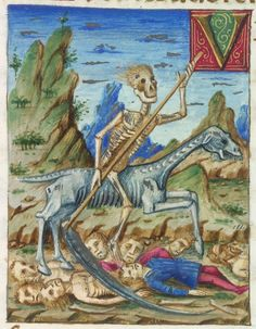 Death of a horse-face on a pale horse.  蒼ざめた馬に乗るウマヅラな死。1477年BL Yates Thompson 6  f.137r