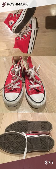 Red converse high top Worn one time (totally not my size 😿) excellent condition . Will scrub the white part so you will receive it totally like new Converse Shoes