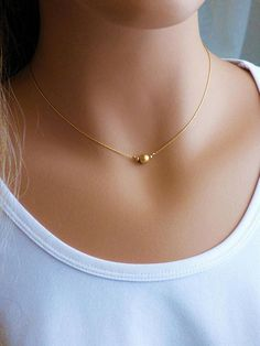 Your place to buy and sell all things handmade Gold Chain Design, Gold Ring Designs, Gold Bangles Design, Delicate Gold Necklace, Gold Jewelry Simple, Jewelry Design Earrings, Gold Earrings Designs, Tiny Necklace, Ball Necklace